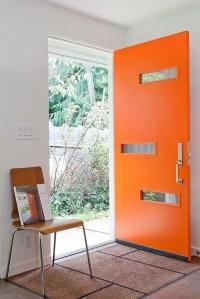 mid-century-orange-front-doors