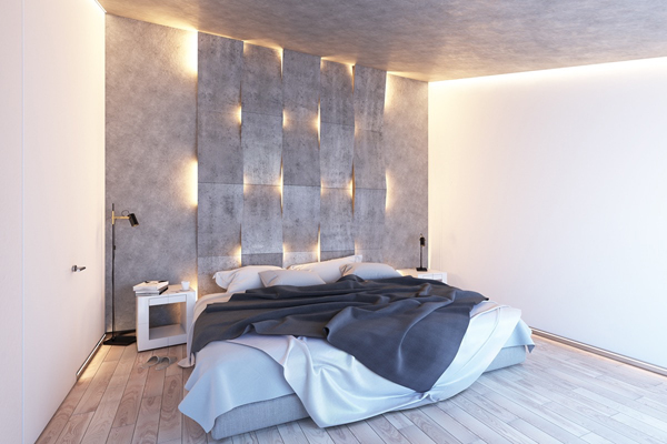 Browse bedroom decorating ideas and layouts. modern-bedroom-lighting-with-textured-accent-wall