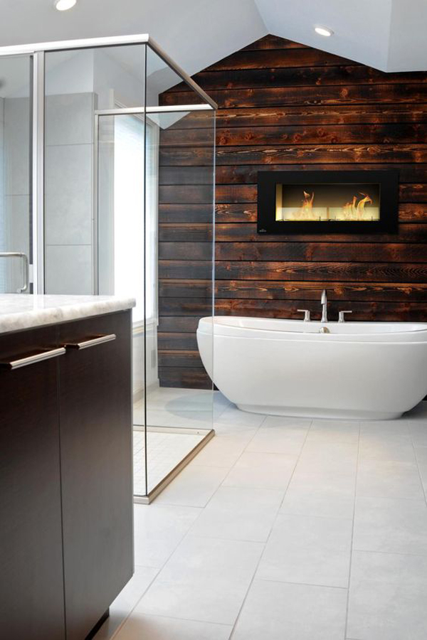25 Cozy And Mesmerize Bathrooms With Fireplaces  Home