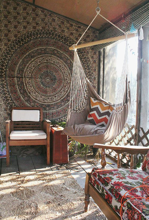 beach chair bathroom accessories black spandex covers wholesale 15 inspiring bohemian porch with colored textiles | home design and interior