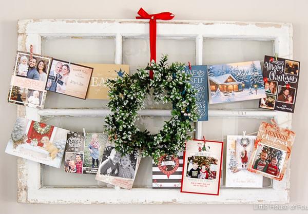 old window christmas card display ideas