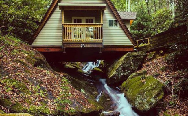 A Frame Tiny Cabin Built In Creek