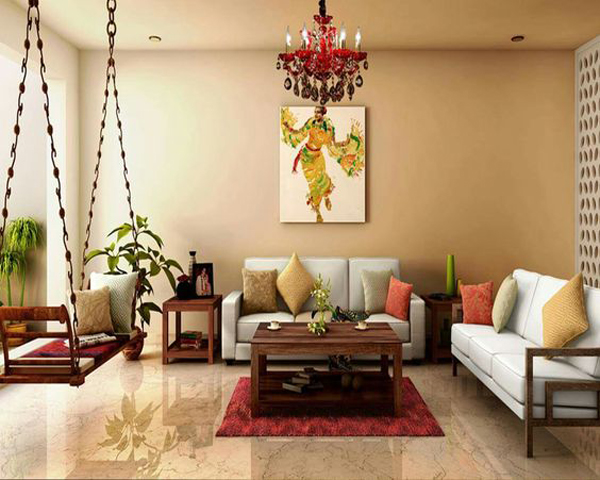 modern-indian-living-apace-with-swing-chairs | HomeMydesign
