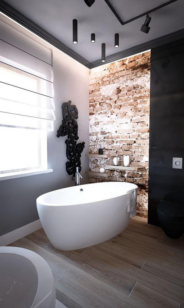 25 Stylish And Trendy Bathroom With Exposed Brick Tiles