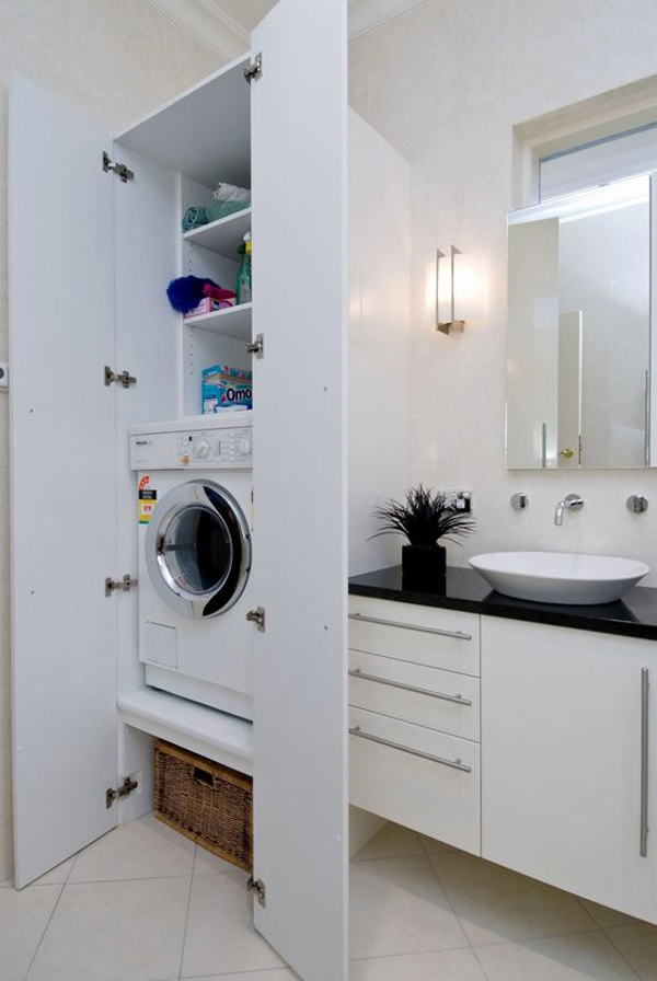 Bathroom Laundry Room Combo With Hide Washing Machine Homemydesign