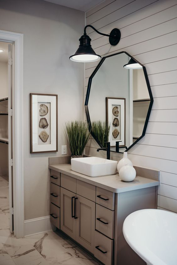 A spot to unwind while c. hexagonal-bathroom-mirror-ideas | HomeMydesign