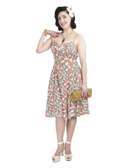 Robe Collectif Fairy Pineapple Print Doll Dress pin-up 50's