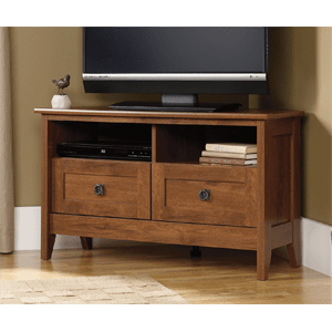 Sauder-August-Hill-Corner-Entertainment-Stand,-Oiled-Oak-Finish