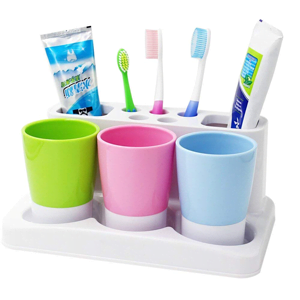 Tonze-Plastic-Bathroom-Toothbrush-Tooth-Paste-Stand-Holder-Storage-Rack-Box-Set