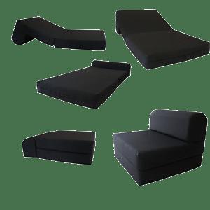 Black-Sleeper-Chair-Folding-Foam-Bed-Sized