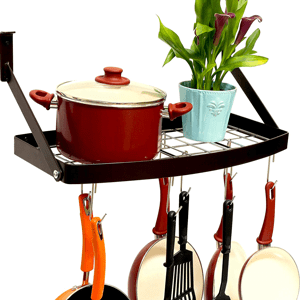 DecoBros-Wall-Mount-Square-Grid-Pot-Pan-Rack-includes-8-hooks