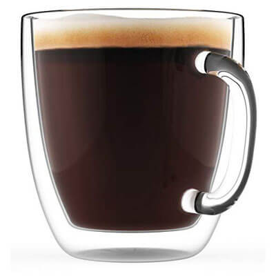 Large Coffee Mug, Double Wall Glass 16 oz