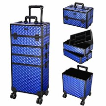 Byootique Brilliant Blue 4in1 cosmetic Lockable Rolling Makeup Case
