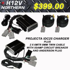 Narva Dual Battery Switch Wiring Diagram 2003 International 4300 Starter Projecta Idc25 Charger Anderson Quick Connect With 8mm
