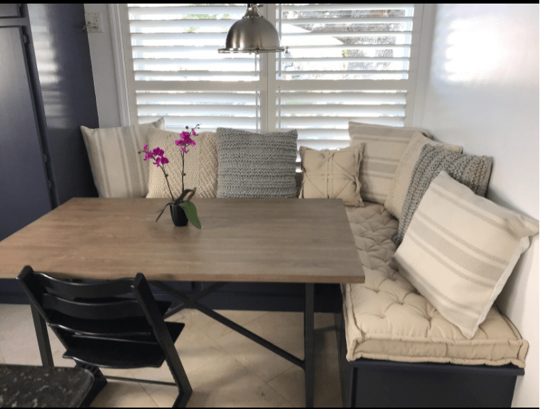 kitchen benches backsplash tile design ideas 2 tufted cushions for l shaped bench custom melissa the based on size and budget fit perfectly thank you completing my by m lapietra feb 06 2018 via amazon