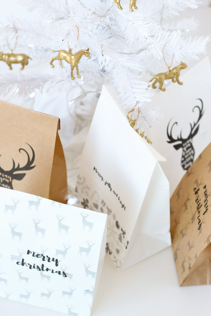 Make your own DIY custom gift bags for Christmas by printing on paper bags