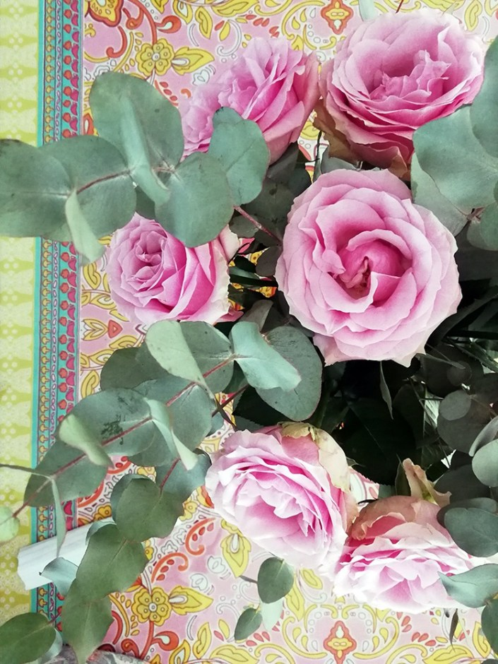 colourful tablecloth with roses