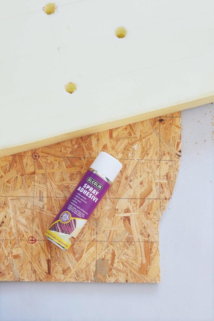 chipboard, foam and spray glue