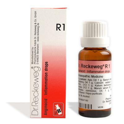 Dr. Reckeweg R1 Inflammation drops, Abscesses, Adenoids, Adnexitis, Chrinic appendicitis, Arthritis, Boil, Carbuncle, Cholangitis, Cholecystitis, Cholelihiasis, Chronic appendicitis, Conjunctivitis, Inflammation of dental root, Empyema, Furunculosis, Hepatitis, Lymphadenitis, Lymphangitis, Mastitis, Oteoporosis, Ovarian cyst, Panaritium, Paraesthesias, Parotitis, Phlegmon, Prostatits, Quinsy, acute Rheumatoid arthritis, Scarlet fever, Sinustitis, Tonsillar hypertrophy, Tonsillitis,