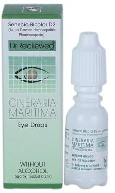 Dr.Reckeweg Cineraria Maritima Eye Drops, alcohol free Senecio Bicolor D2, German Homeopathic eye care medicine