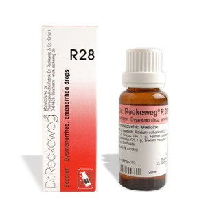 Dr. Reckeweg R28 drops for Dysmenorrhea, amenorrhea.Homeopathic medicine for menstrual complaints, Menorrhagia, Metrorrhagia