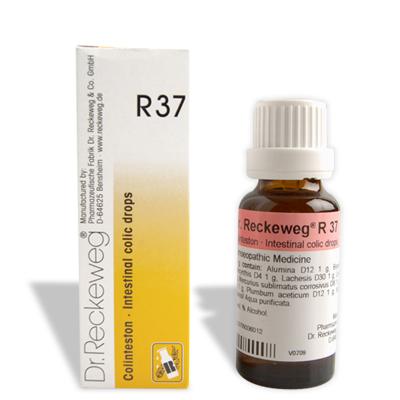 Dr. Reckeweg R37 Intestinal colic drops, flatulent colic, abdominal cramps. Detoxifies liver, Cholelithiasis, colics, Constipation, Flatulence