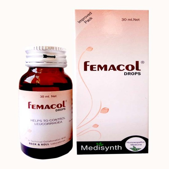 Medisynth Femacol drops for irregular menstrual cycle, leucorrhoea, early or late menses, dry vagina, metorrhagia
