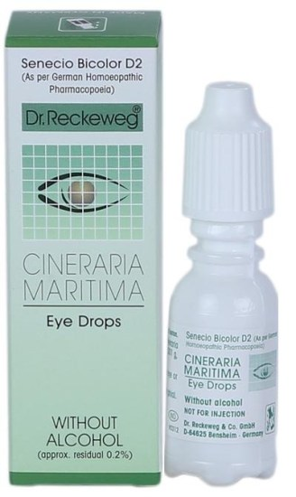 Dr.Reckeweg Cineraria Maritima Eye Drops, alcohol free Senecio Bicolor D2, German Homeopathic eye care medicine