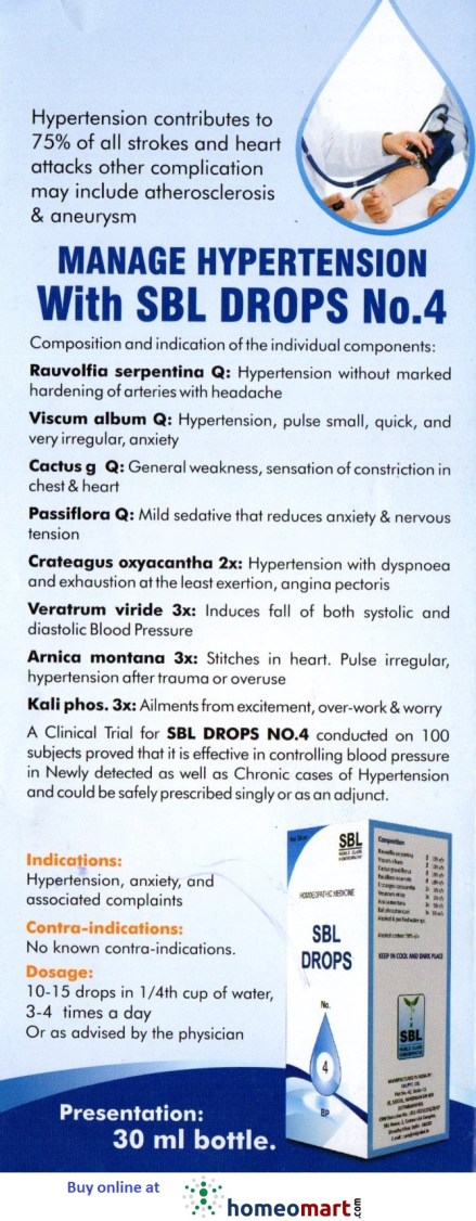SBL Homeopathy Drops.No.4 for Hypertension