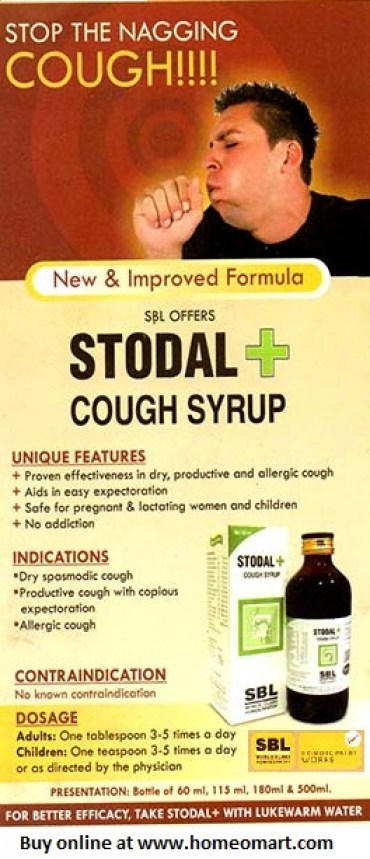 SBL Homeopathy STODAL cough syrup for dry cough & wet cough