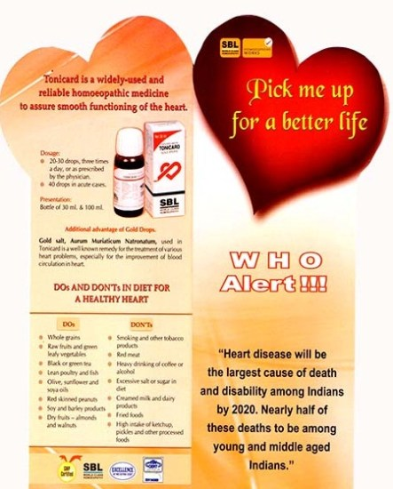 Tonicard Heart drops product leaflet, brochure containing product information