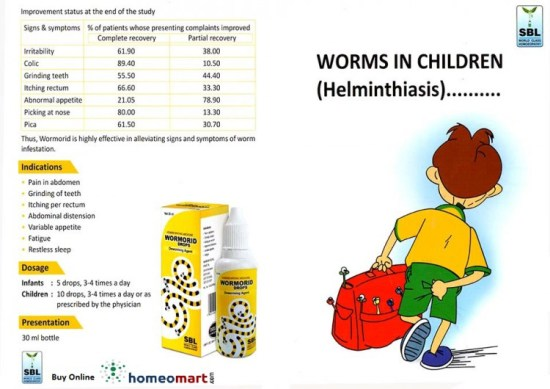 Homeopathy for worms, Wormorid drops for Worms (Helminthiasis) in children