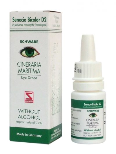 Schwabe German Cineraria Maritima D2 Eye care Drops without Alcohol for Computer vision syndrome, chronic conjunctivitis, mild injuries to the eyes, blepharitis (swollen eye lids), over strained eyes