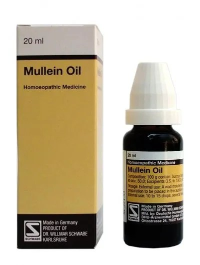 Schwabe German Mullein Oil, homeopathic medicine for ear pain, ear wax blockage, pus, infections, ear discharge, tinnitus etc