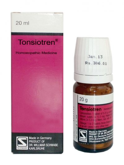 Schwabe German Tonsiotren homeopathic Tablets for swollen Tonsils, tonsillitis