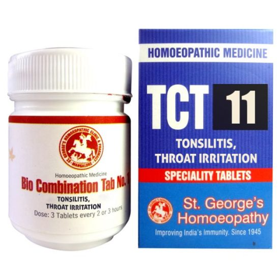 St George TCT 11 Homeopathic Tissue Complex Tablets for Tonsilitis, Thoart Irritation
