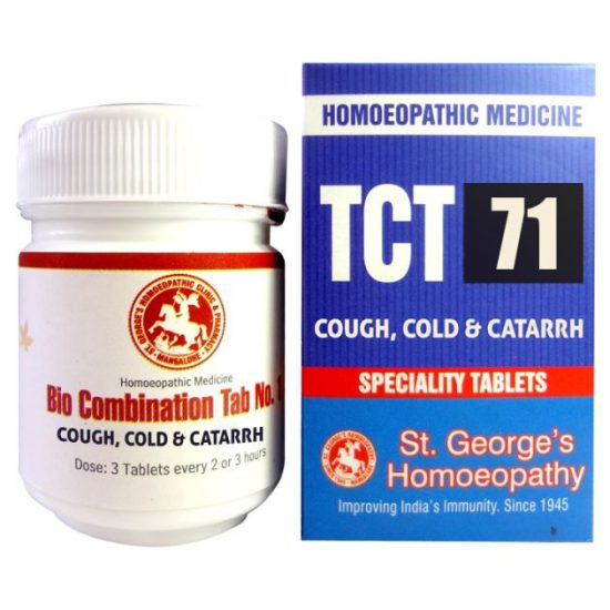 St George TCT 71 Homeopathic Tissue Complex Tablets for Cough, Cold and Catarrh