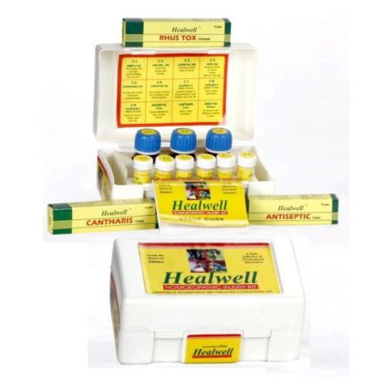 Healwell Homeopathic Injury Kit for cuts, wounds, sprains, muscular pain, burns, scalds, nerve injuries, insects bites etc