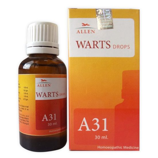 Allen A31 Homeopathic Drops for all types of Warts (Plantar Warts, Flat Warts, Filiform Warts, Periungual Warts) and Corns