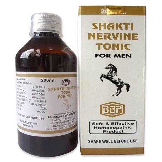 BBP Shakti Nervine Tonic for Men - Natural vigor and Strength, Homeopathic medicine for weakness