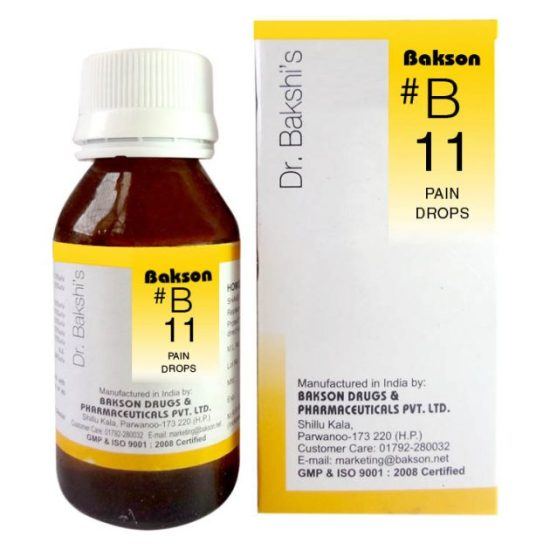 Dr.Bakshi B11 Pain Homeopathy drops, Analgesic, Pain Killer for headaches, joint pain, rheuatism