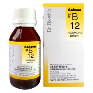 Dr.Bakshi B12 Headache Homeopathy Drops for Migraine, Nervous Headaches
