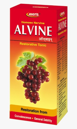 Allen Alvine Restorative Nervine Tonic, ideal for convalescence, anemia, malnutrition, sexual weakness, loss of weight and memory.