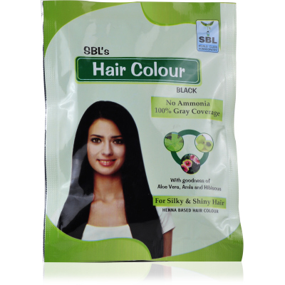 Sbl Hair color Black, Henna based hair colour with amla, aloevera, Hibiscus, 100% Gray coverage