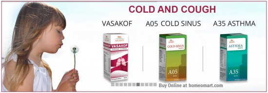 Allen Homeopathy medicine for cough and cold, Vasakof, A05 cold Sinus, A35 Asthma