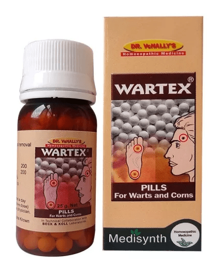 Medisynth Wartex Forte Pills - Safe, Effective Medicine for Warts, Corns -  Homeopathy Remedies