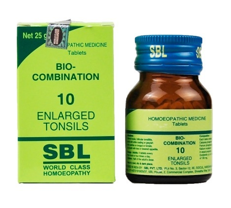 SBL Bio combination No.10 homeopathy Tablets for Enlarged tonsils