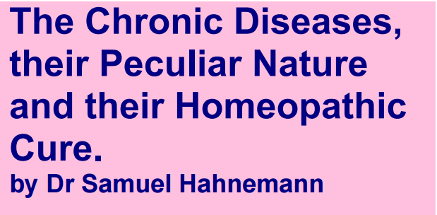 The Chronic Diseases Peculiar Nature Homeopathic Cure Hahnemann ...