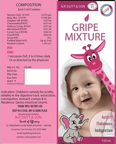 Homeo Gripe Mixture For Baby Acidity Flatulence