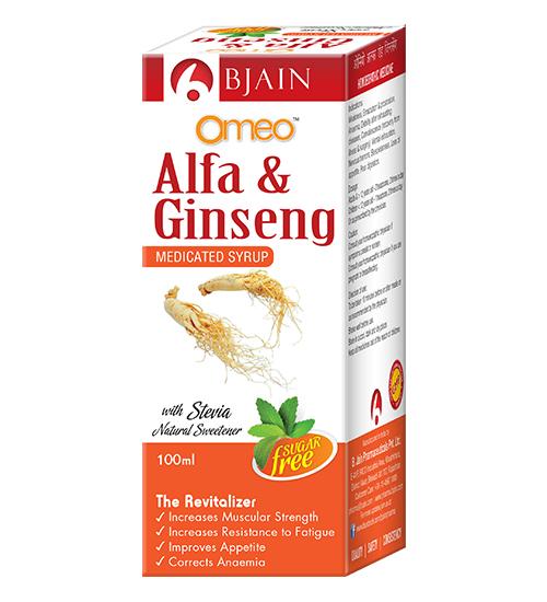 Omeo Alfa Ginseng Sugar Free Medicated Syrup, Revitalizer supplement